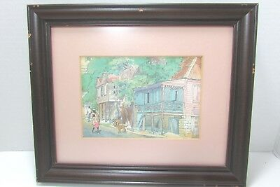 Vintage African American  Art Print Wood Framed Matted Glass 10x12
