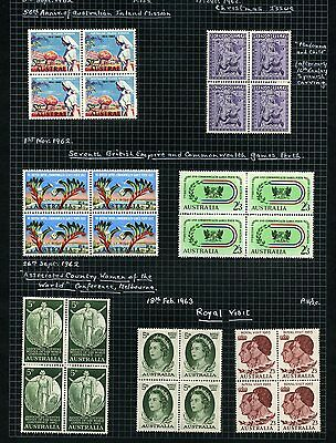 Australia 1962-3 BLOCKS of 4 mint on page inc Royal Visit, Commonwealth Games