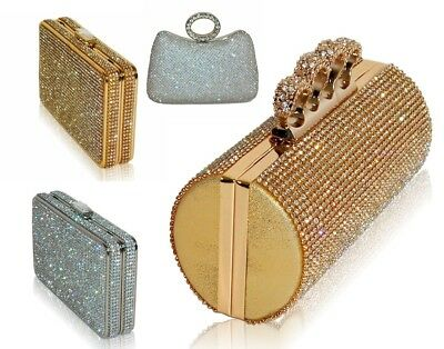 New Diamante Sparkly Silver Gold Clutch Party Evening Bridal Ring Clasp Handbag