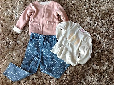 Girls 3 Piece Feather Set Pink By Chloe Louise Aged 5-6 Jacket Top Jeans Fleece