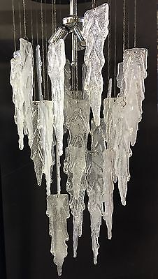 Fantastic Murano Glass Icicle Chandelier After Vistosi