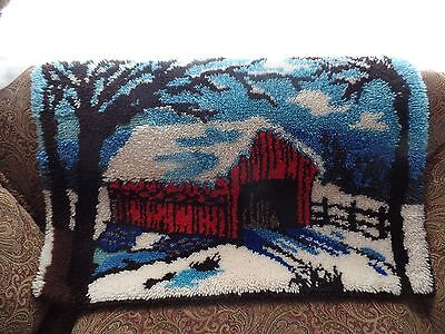 "Vintge Covered Bridge Latch Hook Rug 37""x24"""