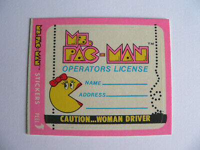 1981 Ms. PAC-MAN OPERATORS LICENSE CAUTION...WOMAN DRIVER #38 of54 STICKER CARD