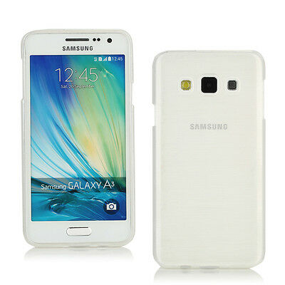 TPU Gel Case+Car Charger+more for Samsung Galaxy A3-Cream White Brushed Effect