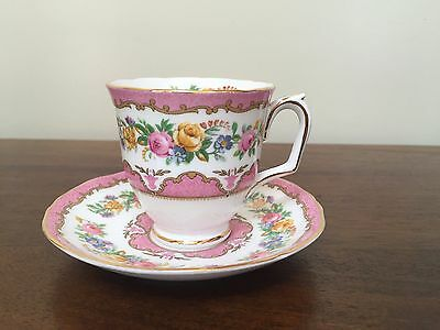 Crown Staffordshire Bone China LYRIC TUNIS Footed Tea Cup & Saucer Set ~ England