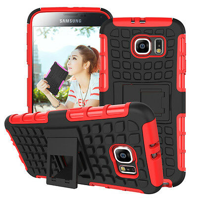 Dual Heavy Duty Hard Case/ Kick Stand+Car Charger+... for Samsung Galaxy S6-Red