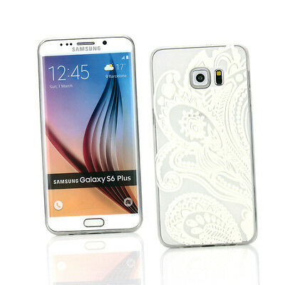 Case + Car Charger for Samsung Galaxy S6 Edge Plus - Clear/White Flower