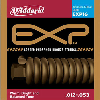 D'Addario EXP16 Coated Phosphor Bronze Light 12-53 Acoustic Guitar Strings
