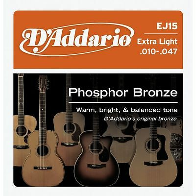 D'addario EJ15 Phosphor Bronze, Extra Light Acoustic Guitar Strings , 10 - 47