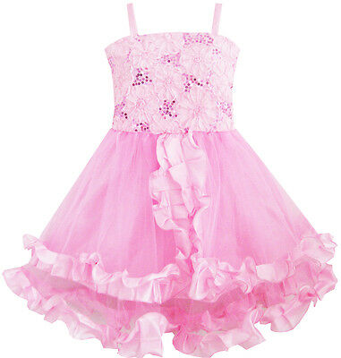 Girls Dress Tank Embroidered Pink Flower Trimmed Wedding Child Clothes Size 4-10