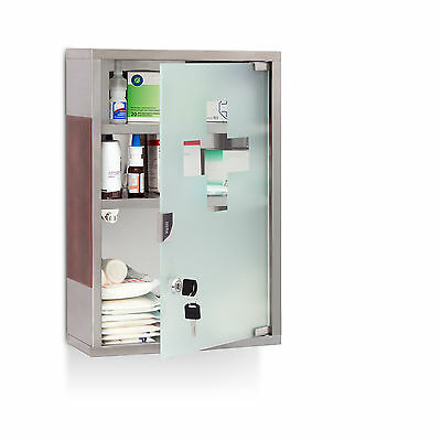 Stainless Steel XL Medicine Cabinet Wide Bathroom Storage Shelf First Aid Lock