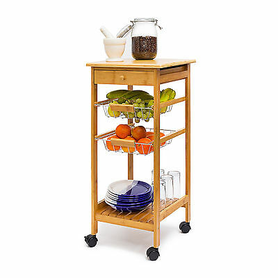 JAMES Bamboo Kitchen Island Serving Cart Rolling Trolley w Wheels Dish Storage