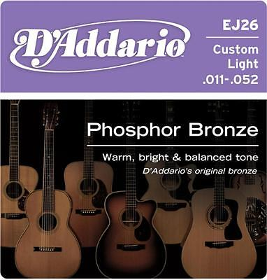 D'Addario EJ26 Phosphor Bronze Acoustic Guitar Strings 11-52  - New