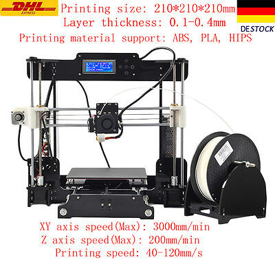 Acrylic Prusa I3 Extruder MK8 3D Drucker 3D Printer 5 Materials DEz