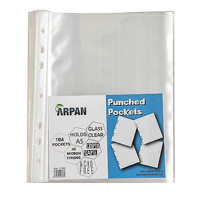 A5 104 Clear Plastic Poly Punched Pockets Strong Filing Wallets Sleeves  ST-9606