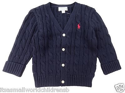 baby boy RALPH LAUREN navy cable V neck CARDIGAN 0/3 3/6 9/12M 100% cotton BNWT