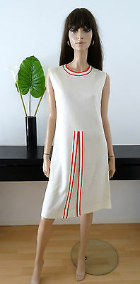 Robe vintage 60's blanc/ rouge tricot taille 38 - dress abito ropa kleid vestito
