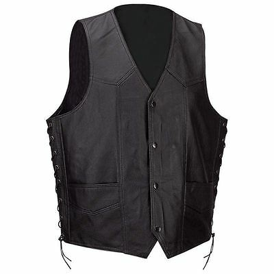 Mens Black Buffalo Solid Leather Classic Motorcycle Vest + Lacing MC Biker Club