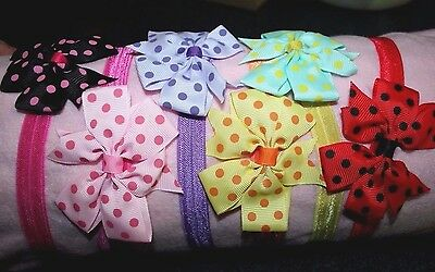 Baby Toddler Polka Dot Bow Strechy Elastic Head Band Hair Ties Princess Girls