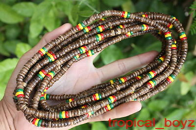 10 Rasta BROWN Coconut Shell Wood Wooden Stretchy Necklaces Wholesale Lot