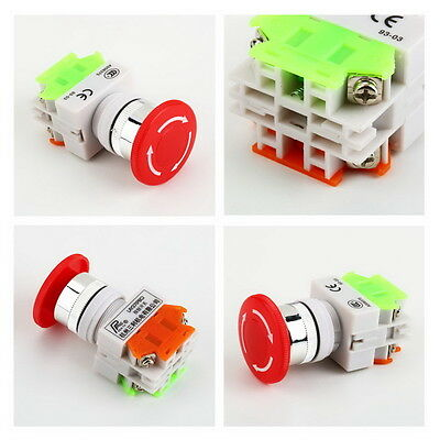 NC N/C Emergency Stop Switch Push Button Mushroom Push Button 4Screw Terminal YS