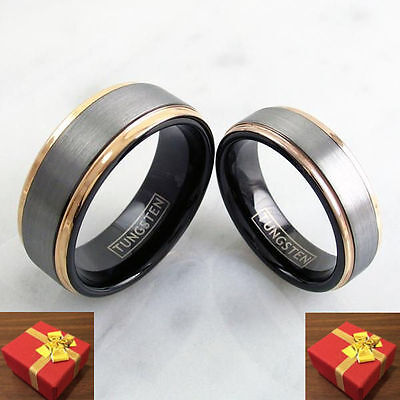 Tungsten Wedding Band Two Ring Set Silver Band Rose Gold Edge Engraving Avail.