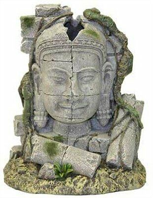 Rosewood Ancient Stone Head Ruin Aquarium Decor Natural Fish Tank stone/resin