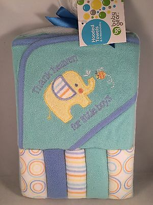 New! Baby Gear Hooded Towel & Washcloth Gift Set Boys Blue Thank Heaven Shower