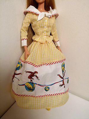 CURIOUS GEORGE BARBIE- Dress and one Shoe! Yellow Country Dress!