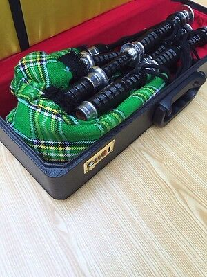 McWilliams PROFESSIONAL SCOTTISH HIGHLAND BAGPIPE FNS IRISH TARTEN FREE HARD BOX