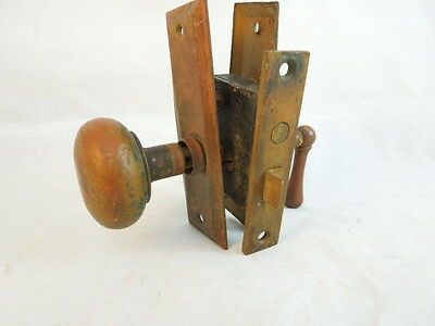 Vintage Solid Brass Door Knob Set Complete With Lock And Back Plates