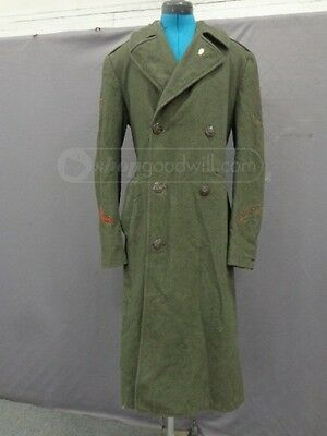 Vintage USMC Marines Wool Serge Trench Overcoat Green Men's Sz Small