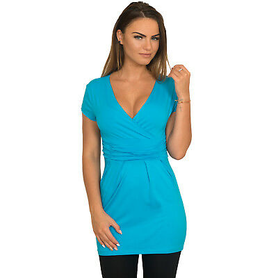 Women's Ladies Sexy V Neck Tunic Top Shirt Mini Dress Trendy Great for Maternity
