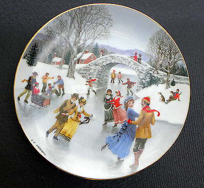 DANBURY MINT PLATE An Old Time Country Winter SKATING ON THE POND .............&