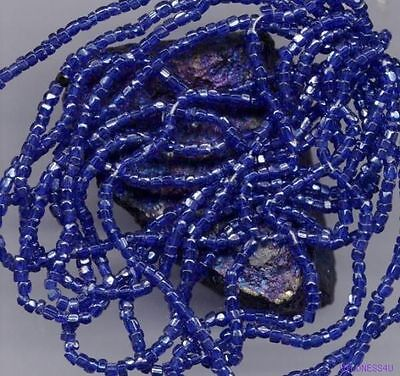 ANTIQUE GLASS SEED BEADS  ELECTRIC COBALT silver SPARKS DIAMOND Sliced CUT Hank