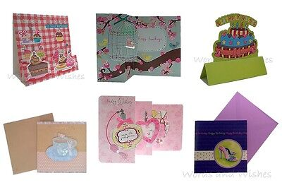 Pack of 6 Assorted Ladies Female Girls Quality Birthday Cards Job Lot Bundle