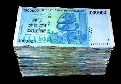 500 x Zimbabwe 1 Million Dollar banknotes- 2008 AA/AB mixed-5 bundles
