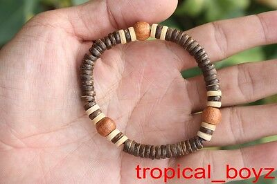 10 two-toned Brown Coconut Shell Wood Beads Stretchy Bracelets Wholesale Lot