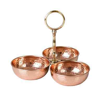 New Nut Server 3 Wells Copper Finish And Brass Rose Gold