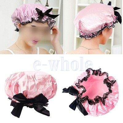 Girls Elastic Waterproof Bow Lace Hat Bath Hair Care Salon Shower Cap luxury WS