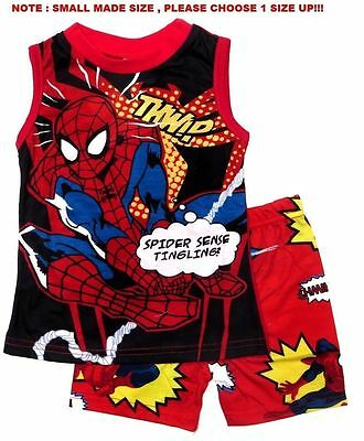 New 1~8 Pyjamas Spiderman Boys Summer Sleepwear Pj Outfits Kids T-Shirt Top Tees