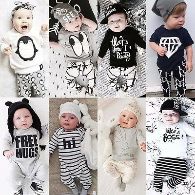 2pcs Newborn Toddler Infant Baby Boy Girls Clothes T-shirt Top+Pant Outfit Sets