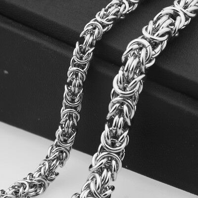 "7""~40"" 6/8mm 100% 316L Stainless Steel Fashion Men Women Byzantine Link Necklace"