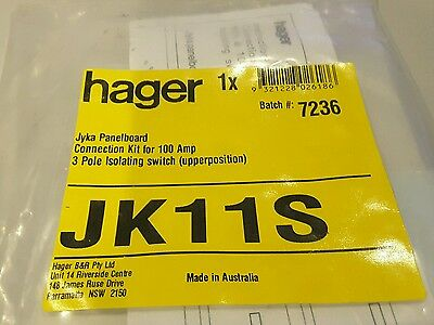 Hager B&R Jyka Panelboard Connection kit for 100A 3 pole isolating switch