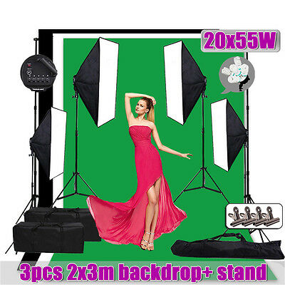 2x3m 3 Backdrops Studio Video 5 Head Softbox Lighting Soft Box Light Stand Kit