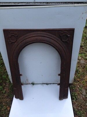 VTG Architectural Salvage Fireplace Insert Iron Arch Surround SEASHELL 1 of 3 A+