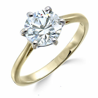 Two carat diamond ring - Yellow Gold 9k with solitaire 2 carat diamond (gi1)