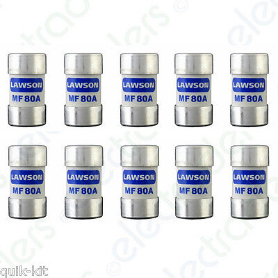 10 x Lawson MF80A Cut Out Fuses - 80 Amp BS88