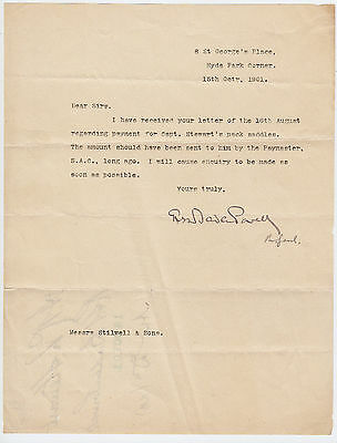 LORD BADEN-POWELL, founder Boy Scouts, signed letter as Major-General 1901