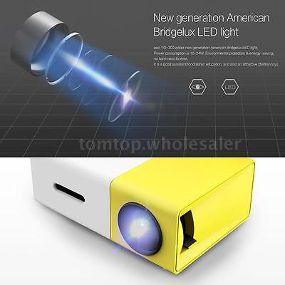 YG300 Mini HD LED Projector Home Theater Cinema 1080P USB HD+MI AV For Laptop PC